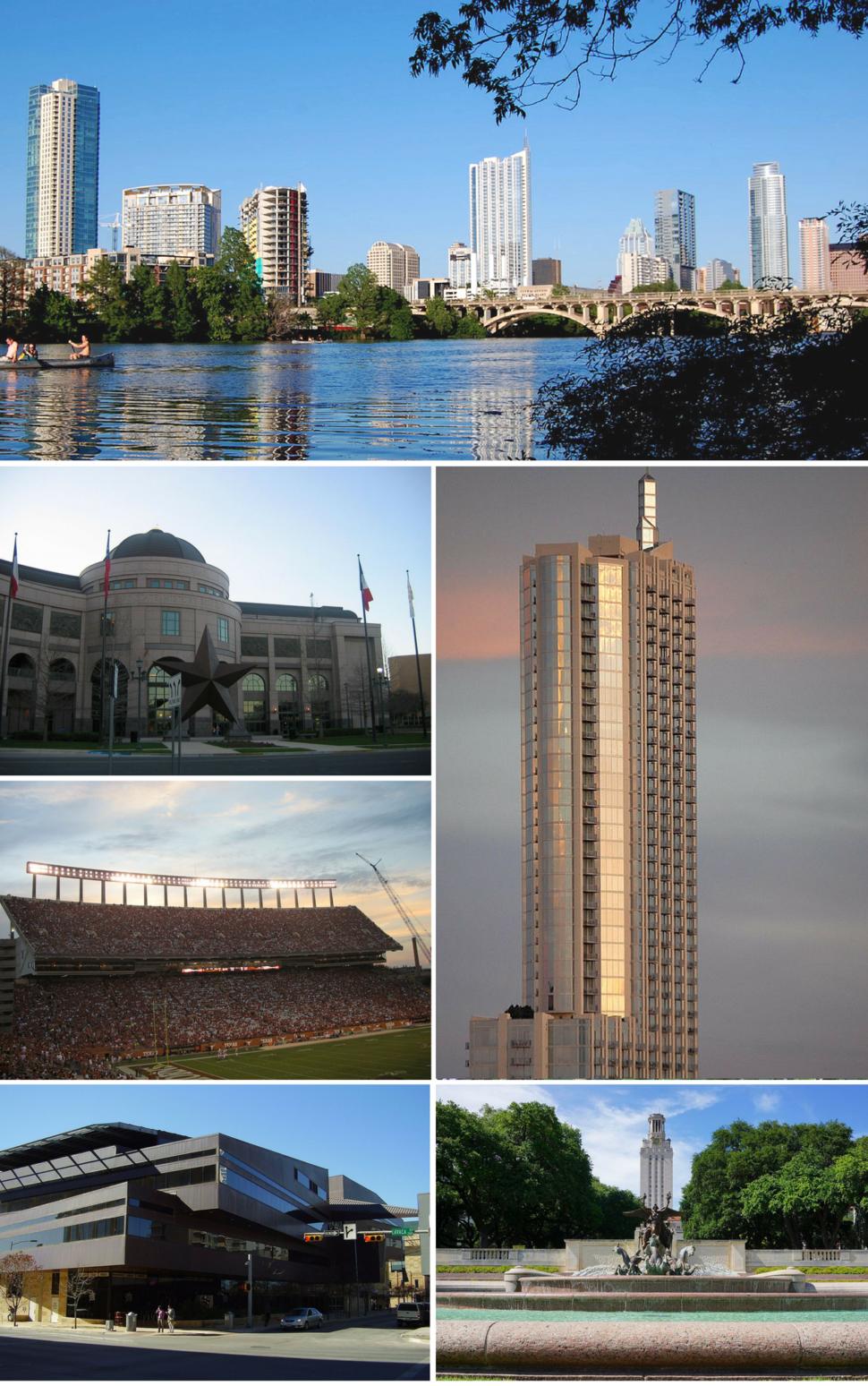 Downtown skyline, Bob Bullock Texas History Museum, 360 Condominiums Tower, Darrell K Royal–Texas Memorial Stadium, Austin City Hall, University of Texas at Austin