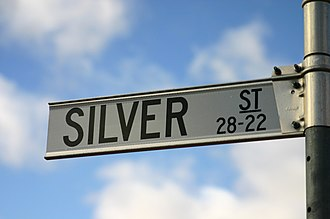 The Amazing Race 18 - In the Outback city of Broken Hill, teams searched for an intersection of two streets named after chemical elements (a street sign of Silver Street pictured).
