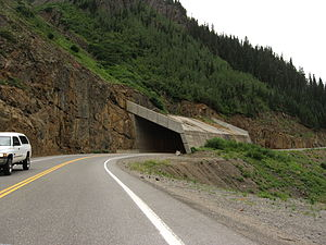 "U.S. Route 550 - An ""overpass"" for an active avalanche chute on the Million Dollar Highway, south of Ouray."