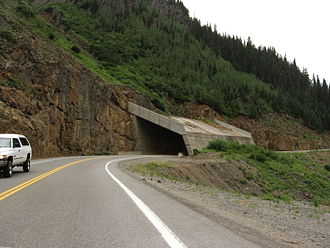 """U.S. Route 550 - An """"overpass"""" for an active avalanche chute on the Million Dollar Highway, south of Ouray."""
