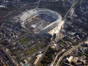 Aviva Stadium - Lansdowne Road was replaced by the Aviva Stadium, shown here during construction