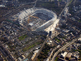 Lansdowne Road - Lansdowne Road was replaced by the Aviva Stadium, shown here during construction