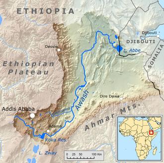 Awash River - Map of the Awash drainage basin