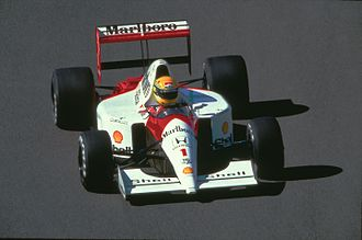 1991 Belgian Grand Prix - Ayrton Senna during the race in Spa-Francorchamps on August 25, 1991.