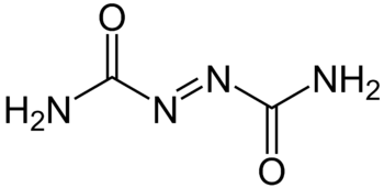 English: Chemical structure of azodicarbonamide