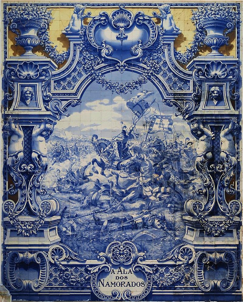 Œuvre (en carreaux de céramique émaillée: azulejos) de Jorge Colaço (1922) représentant un épisode de la bataille d'Aljubarrota (1385) entre les Portugais et l'armée castillane. Exposée au Pavilhão Carlos Lopes, à Lisbonne (Portugal). (définition réelle 2387×2966)