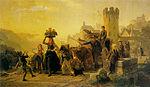 Böttcher, Christian Eduard - Setting out for the grape harvest, Oberwesel-on-Rhine - 1867.jpg