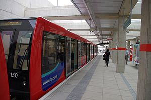 B07 Stock No 150 at Stratford International DLR Station.jpg