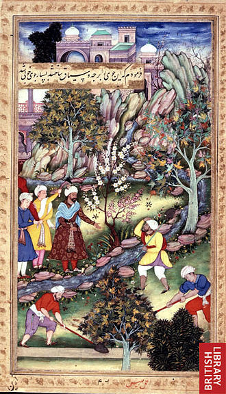 Gardens of Babur - Babur watching men altering the course of the stream