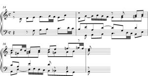 Stretto - Bach Fugue in C BWV846 bars 14-16