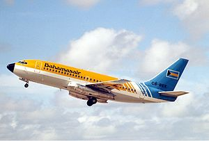 Bahamasair - A now retired Bahamasair Boeing 737-200 leaving Miami in 1989