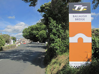 Ballaugh Bridge - The A3 Castletown to Ramsey Road at Ballaugh Bridge with its side-road junctions with the C37 Ballaugh Glen Road and the A10 Ballaugh Station Road hidden behind