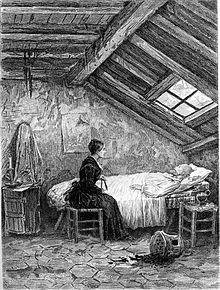 Ung jente ved sengen til en døende mann på en pall på et loft.