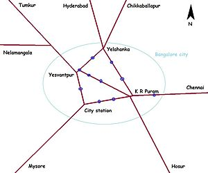 Bangalore City railway station - Bangalore city railway station shown on map