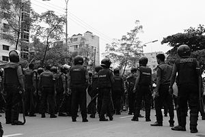 Bangladesh Police - Bangladesh police during Bangladesh private University students protests against the imposition of VAT..