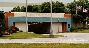 Blakeley Island (Alabama) - The eastern entrance of the Bankhead Tunnel on the southern side of the island.