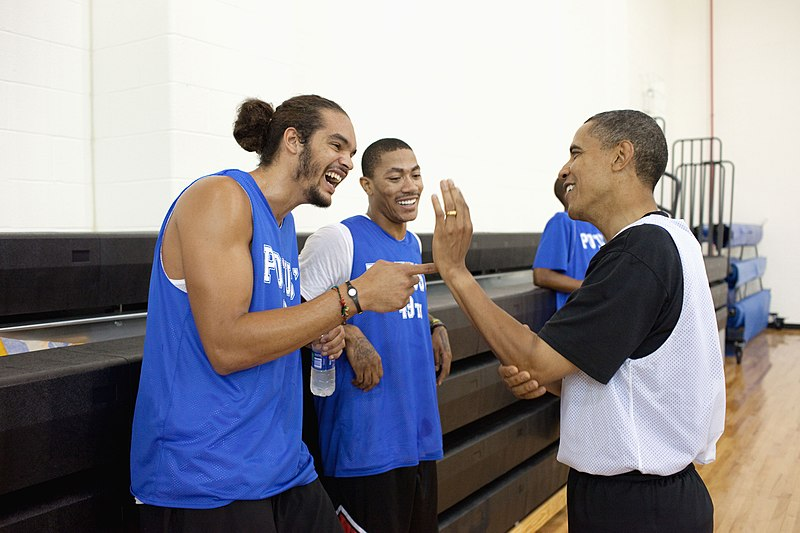 File:Barack Obama, Joakim Noah, and Derrick Rose.jpg