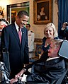 Barack Obama speaks to Stephen Hawking (cropped).jpg