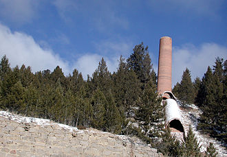 Basin, Montana -  Ruins of the Glass brothers' smelter in Basin (2007)