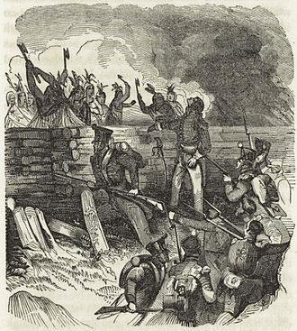 John Gordon (militia captain) - Tennessee Militia attack the log ramparts of the Creek fortification called Tohopeka in the Battle of Horseshoe Bend