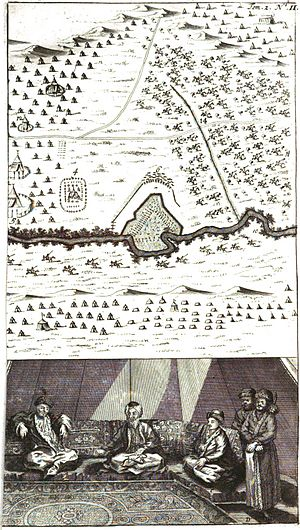 Pruth River Campaign - Bataille du Prout. Illustration from William Hogarth (1697-1764) for the Travels by Aubry de la Motraye, 1724