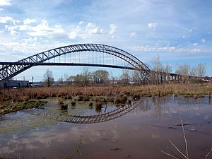 Bayonne Bridge - The original bridge seen from the North Shore Branch embankment at Nicholas Avenue