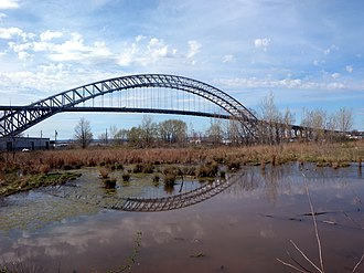 Port Richmond, Staten Island - Bayonne Bridge and a pond in Port Richmond