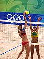 Beach volley at the Beijing Olympics - USA v. Brazil (2).jpg