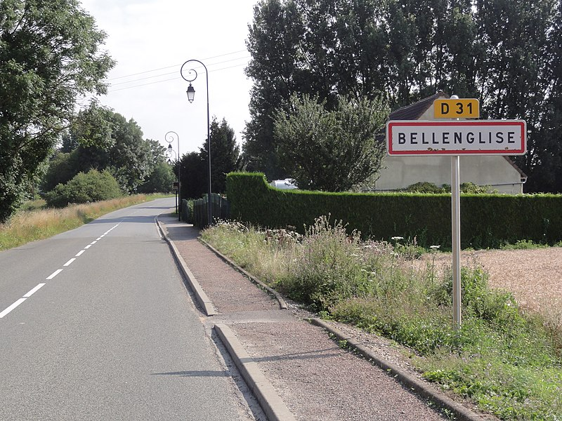 Bellenglise (Aisne) city limit sign