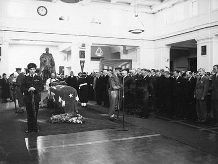 Chifley's coffin lay in state in Old Parliament House, June 1951. BenChifely lyinginstate 1951.jpg