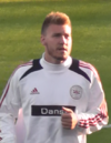 Bendtner warming up for Denmark for a home game against Slovakia..PNG