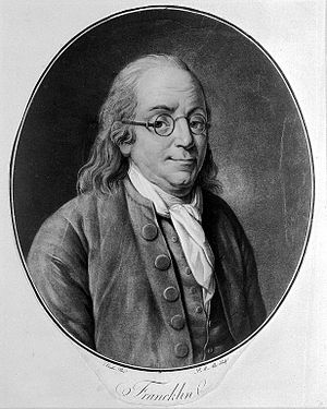 Benjamin Franklin. Coloured aquatint by P. M. Alix, 1790, af Wellcome L0005542.jpg