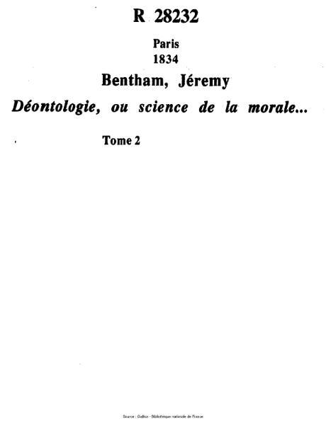 File:Bentham - Déontologie, ou science de la morale, tome 2.djvu
