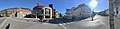 Bergen Storsenter shopping mall, Strømgaten, Fjøsangerveien (E16) in central Bergen, Norway. Bergen Public Library (bibliotek), Fløien, etc. Distorted panorama photo 2018-03-18 C.jpg