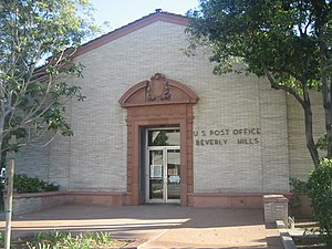 Beverly Hills Post Office - The old Beverly Hills Main Post Office, 469 N. Crescent Dr. at Santa Monica Boulevard in Beverly Hills, served Beverly Hills and the BHPO area of Los Angeles from 1934 to the 1990s.