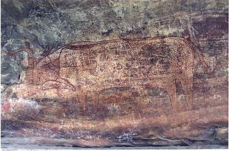 South Asian Stone Age - Bhimbetka rock painting, Madhya Pradesh, India.