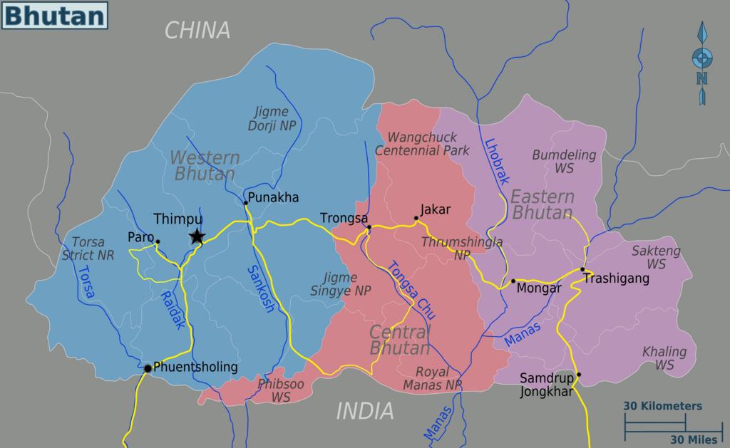 Bhutan regions map