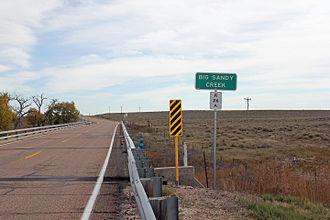 Big Sandy Creek (Colorado) - The creek at Colorado State Highway 96 in Kiowa County.