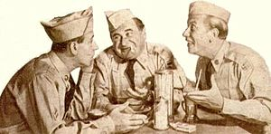 The Phil Silvers Show - A cigarette ad from 1957. Shown are Pvt. Doberman (Maurice Gosfield, center) and Cpl. Henshaw (Allan Melvin, right)