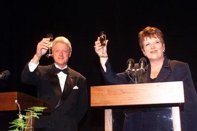 Bill Clinton Jenny Shipley toast