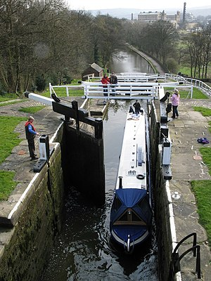 Bingley Five Rise Locks - The locks from above with the Damart Mill in the distance.