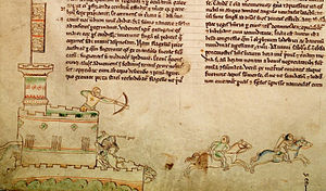 A drawing of a medieval castle, with a tall tower with a flag on top; a crossbowman is firing an arrow from the battlements at two horsemen.