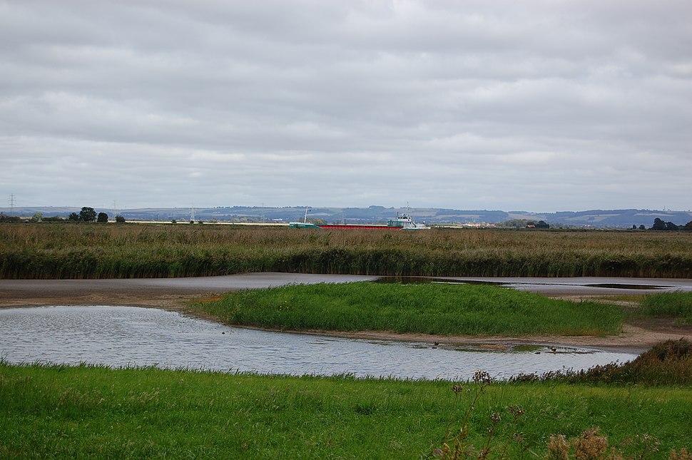 Blacktoft Sands RSPB reserve with Ship