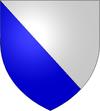 Scindé par la diagonale descendante: bleu en-dessous, blanc au-dessus.