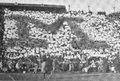 Block M formed by yellow and blue pennants, Ferry Field (1910).png