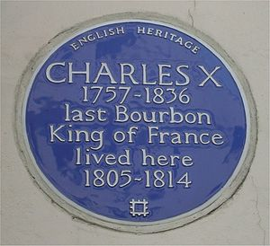 Charles X of France - A Blue plaque at 72 South Audley Street, Mayfair, London, his home between 1805 and 1814.
