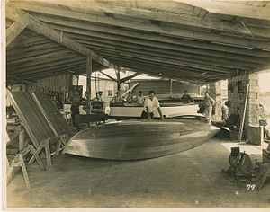 Farley Boats - Bill Farley building a speedboat at Farley and Son, Boat Builders
