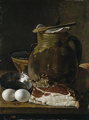 Luis Egidio Meléndez - Bodegón con jamón, huevos y recipientes (Still Life with Ham and Eggs), 18th century