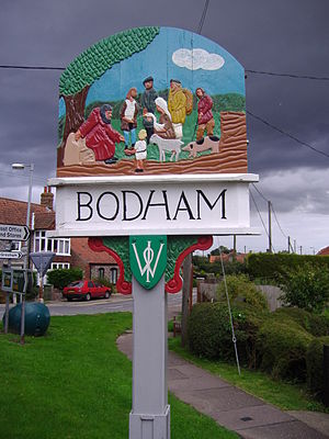 Bodham - Image: Bodham Village sign 6th September 2008 (2)