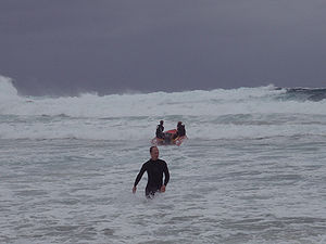 Inflatable Rescue Boat - IRB launched in gale conditions, Bondi Beach Australia